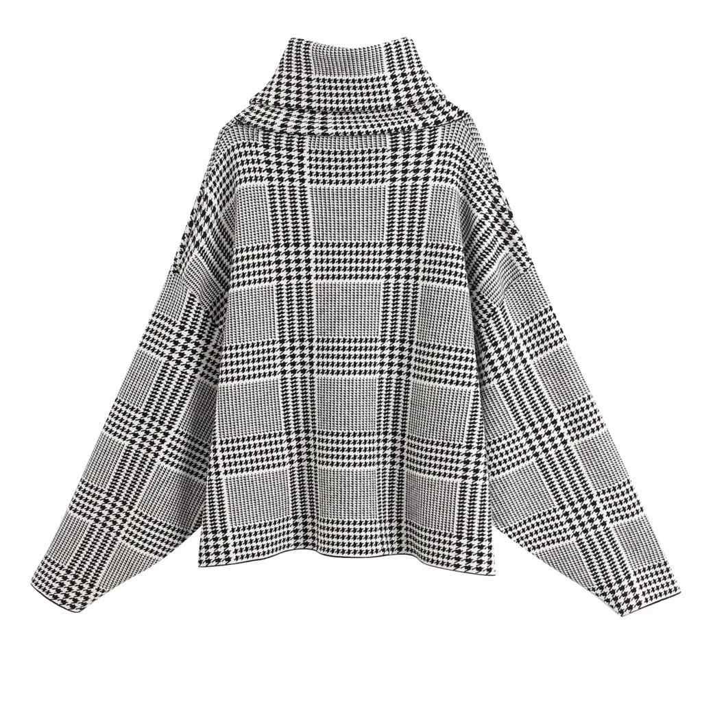 2020 빈티지 자카드 격자 무늬 터틀넥 스웨터 여성 니트 스웨터 대형 긴 소매 풀오버 캐주얼 한국 스웨터