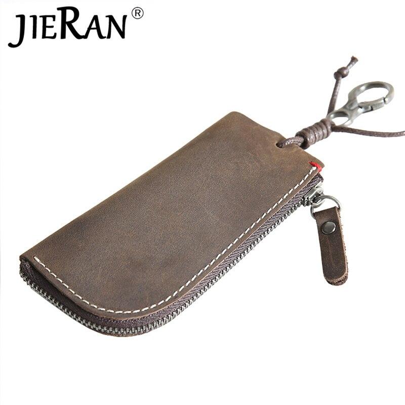 Genuine Leather Key Wallet Men Women Short Cowhide Smart Kay Case ID Card Holder Zipper Car Key Chain Wallet Clip Housekeepers