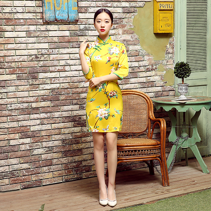 Manufacturers Direct Selling New Style Daily Life Vintage Silk Dress Half-sleeve Shirt Slim Fit Short Double Layer Cheongsam E00