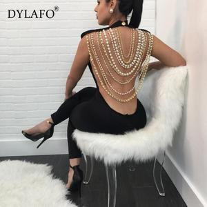 Image 1 - Hot Sale Pearl Chain Sexy Backless Jumpsuit Women Sleeveless Skinny Bodycon Rompers Women Party Overalls Casual Tassel Playsuits