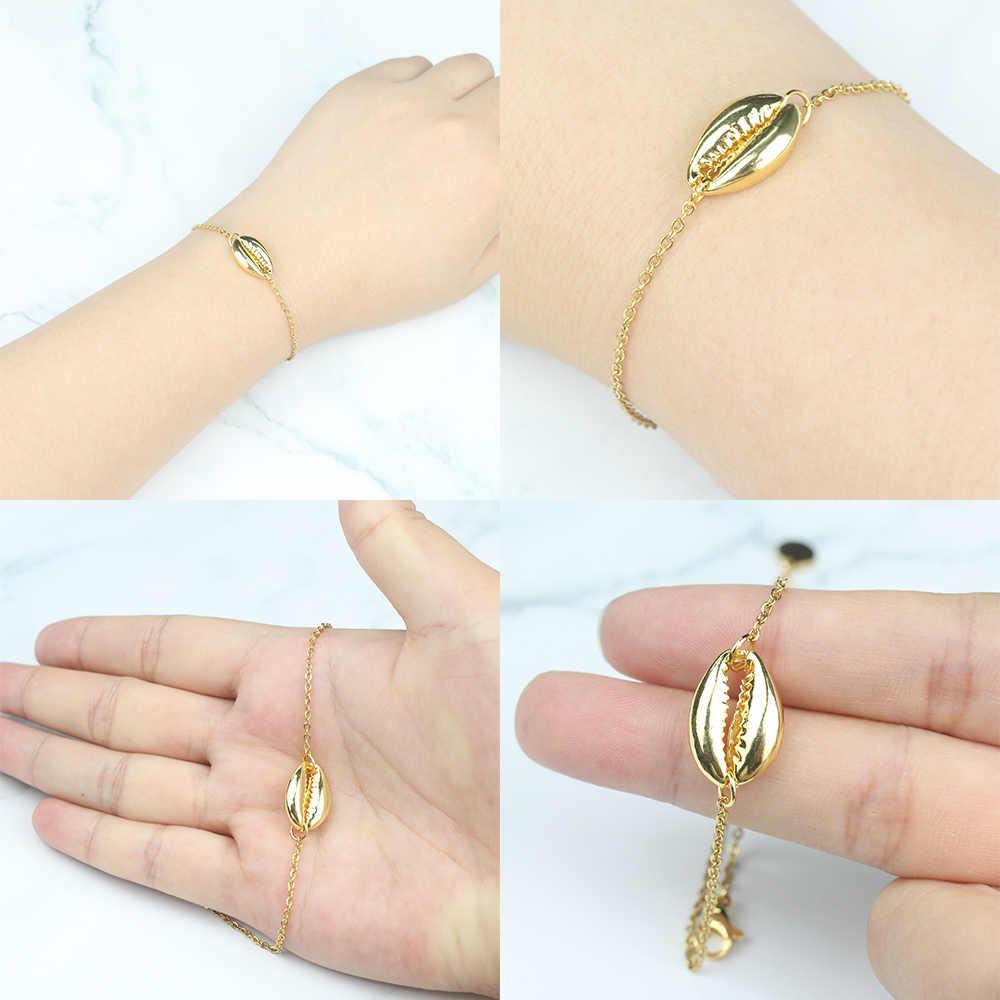 FINE4U B167 Bohemia lato biżuteria plażowa muszla morze Charms bransoletka złoty kolor regulowany łańcuszek bransoletka dla kobiet dziewczyn prezenty