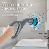 4 in 1 Electric Cleaning Brush with Brush Heads Handhold Bathroom Bathtub Shower Floor Tile Clean Brush Household Cleaning Tools