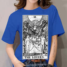Print The Lovers Tarot Card Major Arcana Fortune Telling Occult T-Shirt 100% Cotton Tees Short Sleeve T Shirts Birthday Gift
