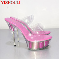 Match fine with 15CM high heels, sandals crystal, performance shoe nightclub lap dancing shoes