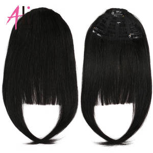 Ali-Beauty Hair-Extensions Human-Hair-Bangs Machine-Made Remy-Fringe 3-Clips Brazilian
