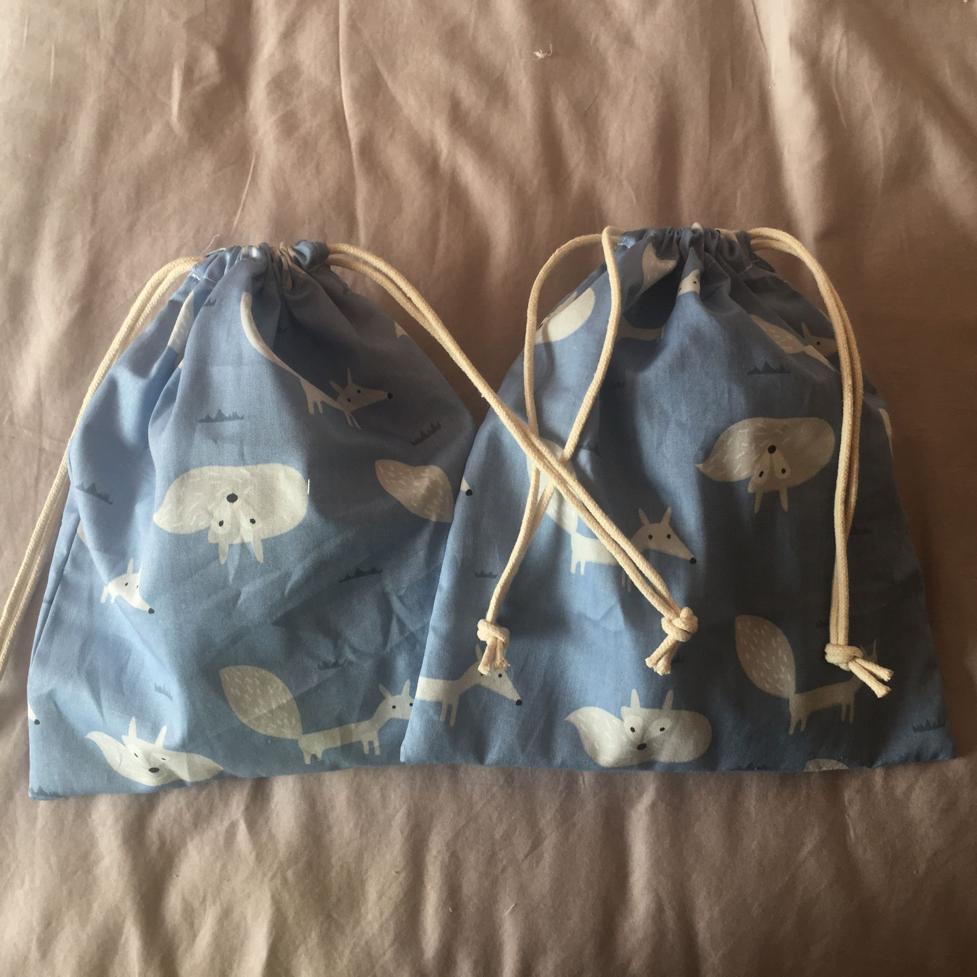 Cotton Drawstring Pouch Home Organized Party Gift Bag Animal Fox Blue 20312c