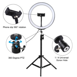 Image 5 - PULUZ Photography LED Selfie Ring Light 10inch Dimmable Camera Phone Ring Lamp With Stand Tripods For Makeup Video Live Studio