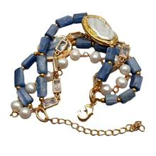 YYGEM 4 Strands Natural Blue Kyanite Nugget White Round Freshwater Pearl Cz Chain statement Bracelet Handmade for women