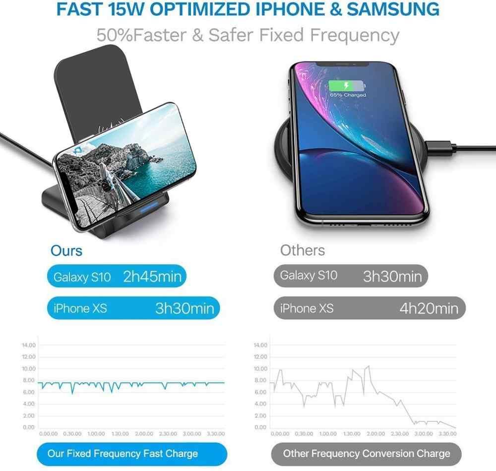 Fdgao 15W Charger Nirkabel Usb Desktop Stand Pad untuk Samsung S9 S10 Catatan 10 9 10W Qi cepat Pengisian untuk iPhone 11 Pro XS XR X 8