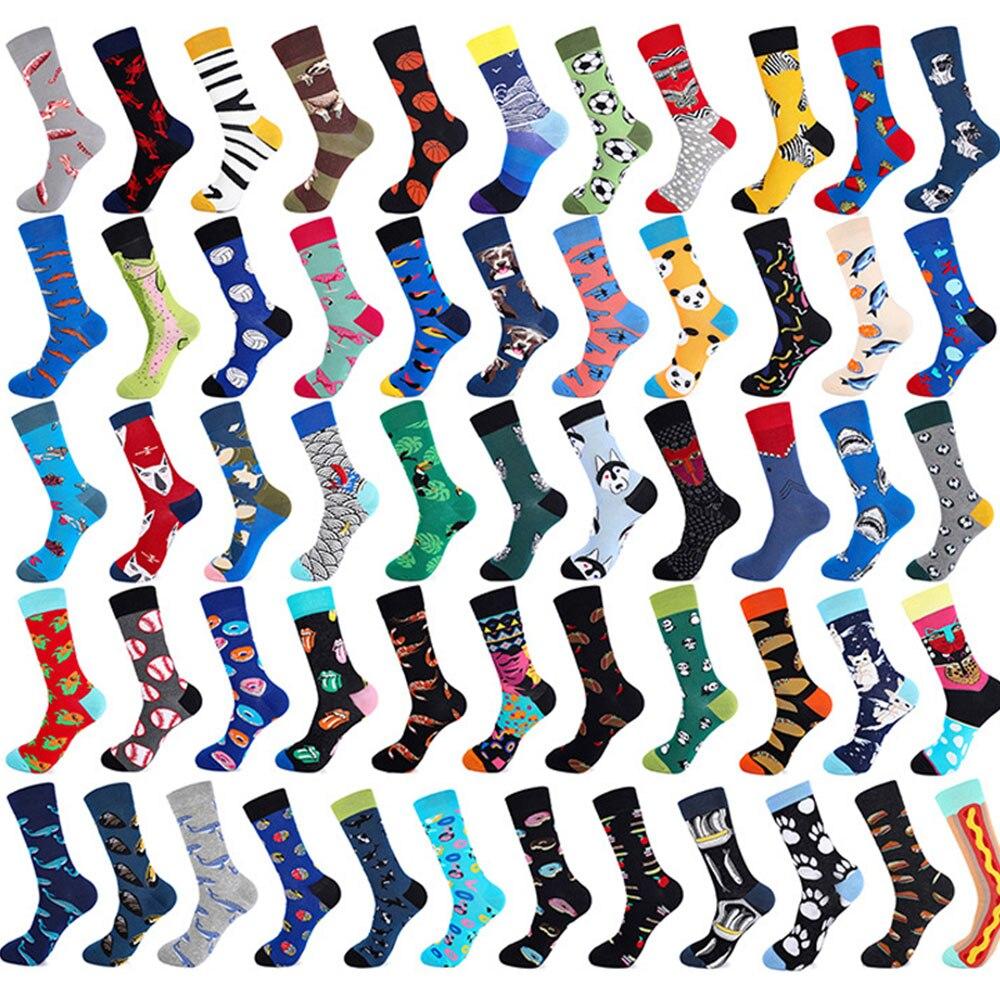 PEONFLY Combed cotton men fashion trend crew   socks   funny shark plant animal art man novelty long   socks   happy woman cartoon   socks
