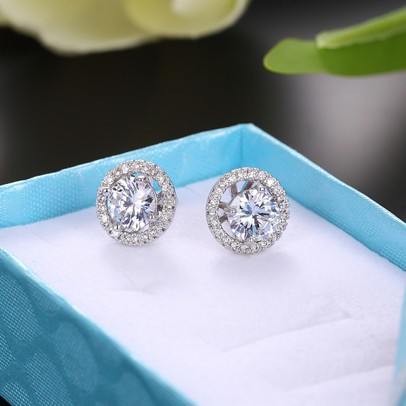New High Quality Round Zircon Stainless Steel Rhinestone Earring Woman Crystal Stud Earring Silver Ear Jewelry Bridal Marry Gift