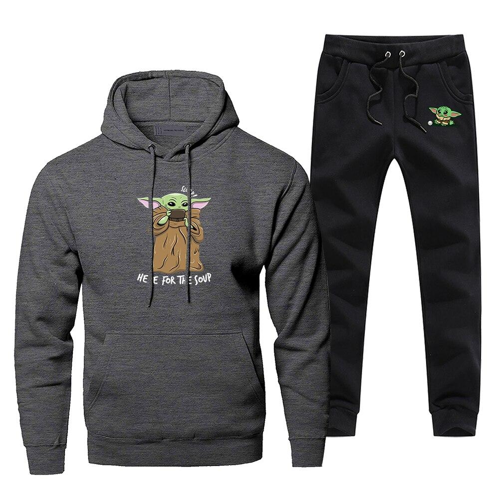 Cute Baby Yoda Men's Sportswear Sets Tracksuit 2 Piece Here For The Soup Sweatshirt + Sweatpants The Mandalorian Star War Set