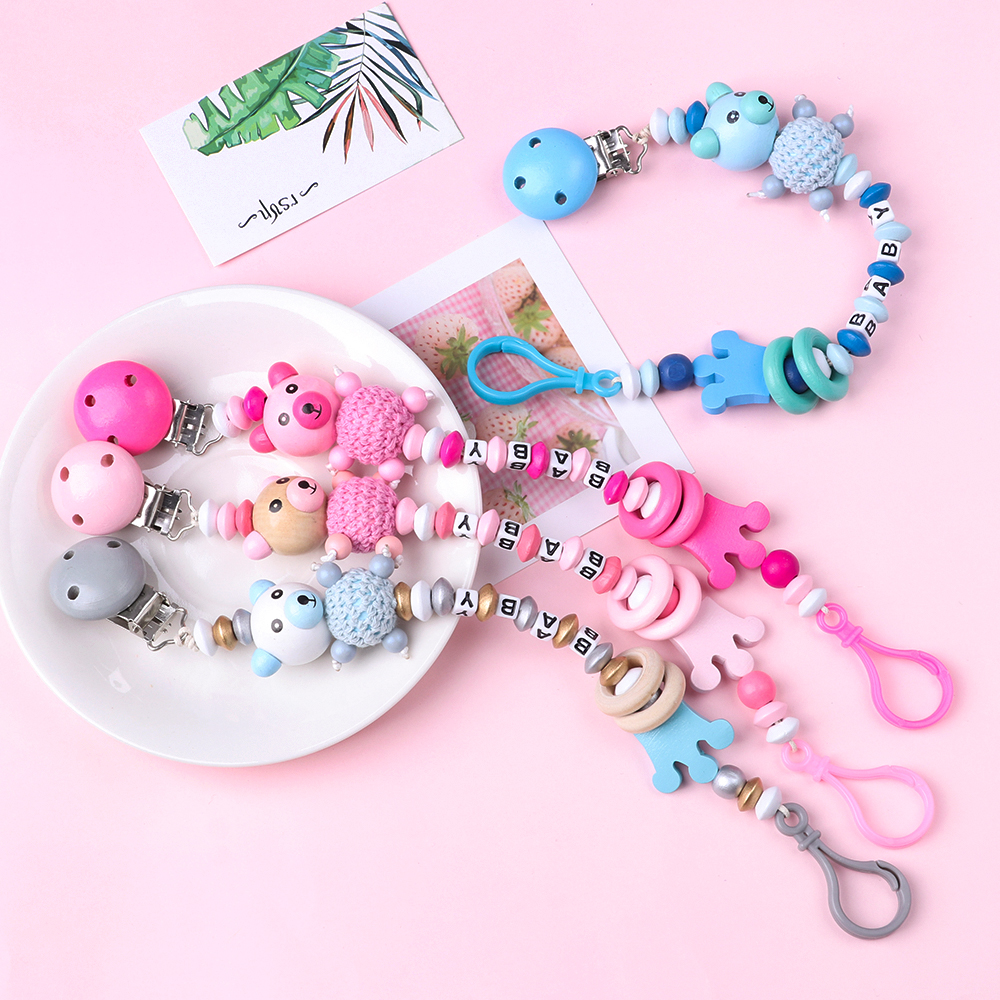 Cute Bear  Pacifiers Chain Nipple Feeding Pacifier Clip Soother Beaded