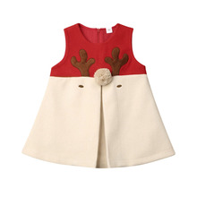 1-5Years Christmas Red Dress Toddler Baby Girls Cartoon Deer Sleeveless Party Dresses For Girl Xmas Costumes Autumn Winter