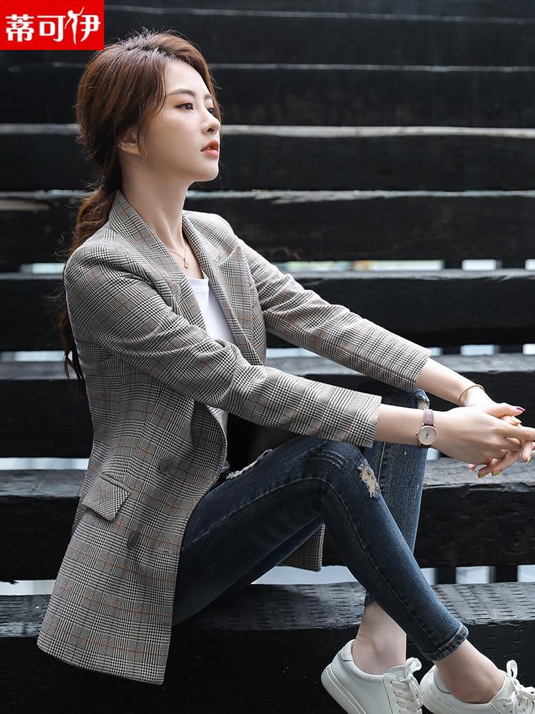 Plaid Vintage Ladies Blazer Blue Loose Simple Stylish Casual Suit Jacket Korean Spring Autumn Women Blazer Large Size MM60NXZ