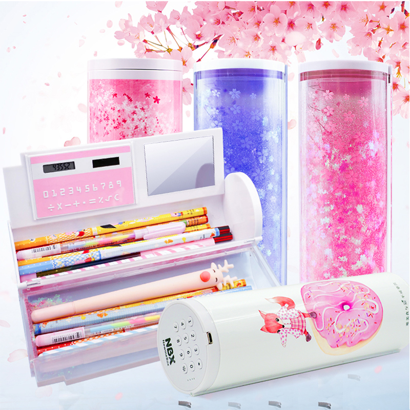 Supplies kawaii stationery pencil case cute big pencil case Intelligent electronic combination lock quicksand pencil case school