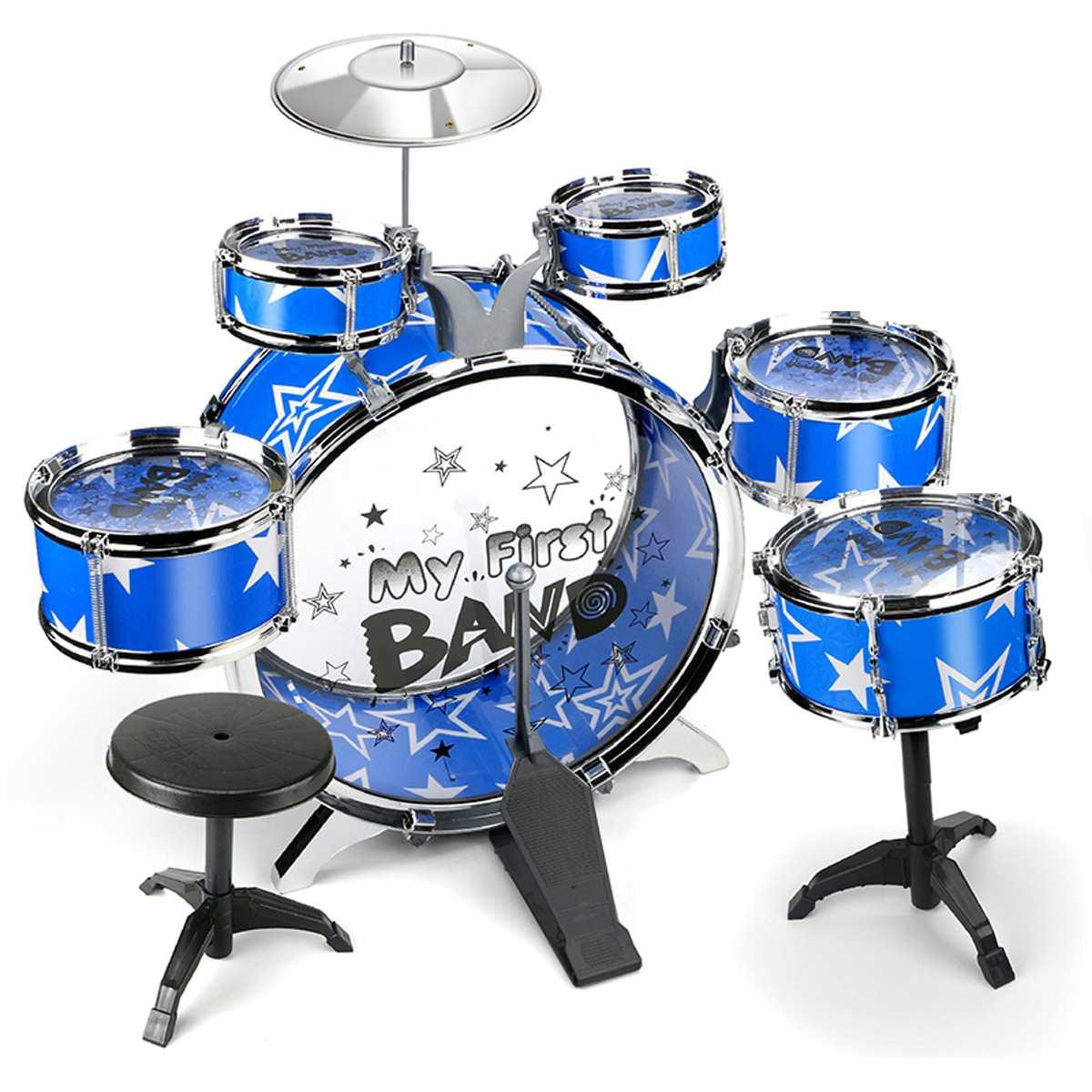 IRIN enfants enfants Jazz batterie ensemble Kit Instrument éducatif de musique jouet 5 tambours 1 cymbale avec petit tabouret baguettes de tambour pour les enfants