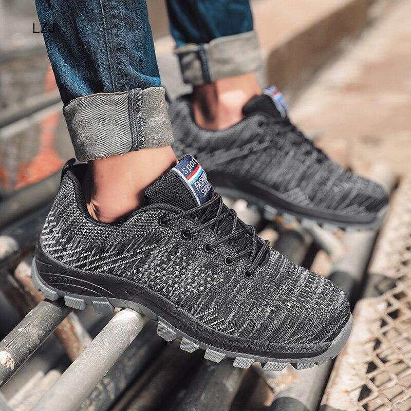 2019 hommes chaussures de sécurité en acier orteil Cap automne respirant Anti-fracassant résistant aux coups de couteau hommes bottes de travail champ Anti-ongles hommes baskets