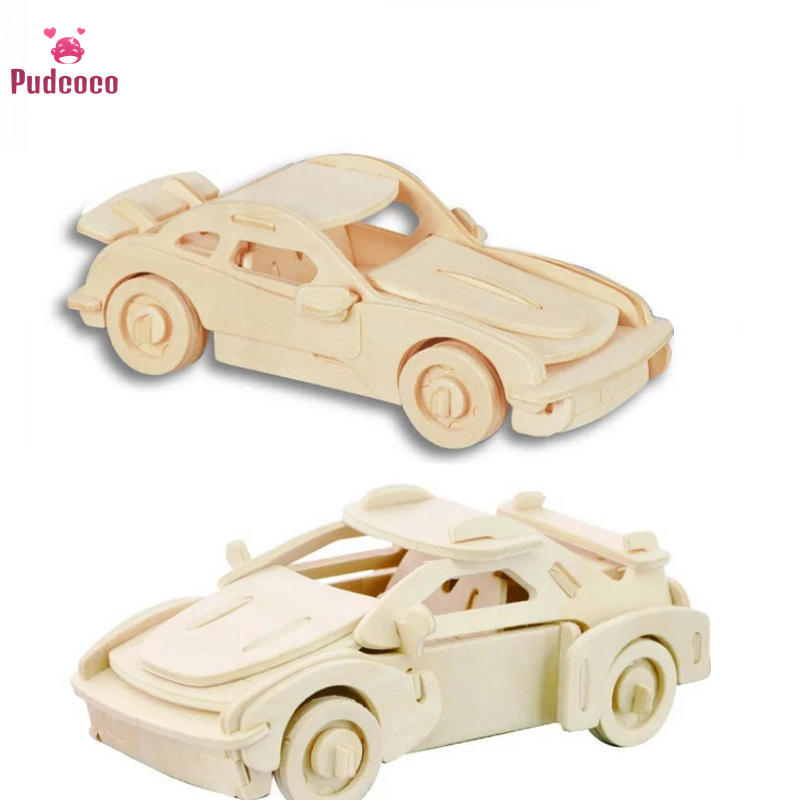 Pudcoco Creative Wooden Car Model Three Dimensional Puzzle Model Puzzle 3D Interconnecting Blocks DIY Model Map Handmade Toys