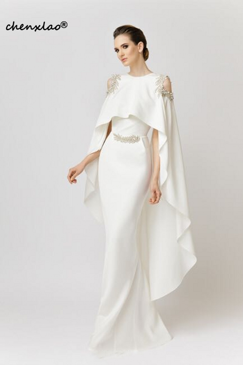 Elegant Formal Dress White Evening Dresses With Shawl 2019 Satin Beaded Saudi Arabic Mermaid Evening Gown Long Abendkleider