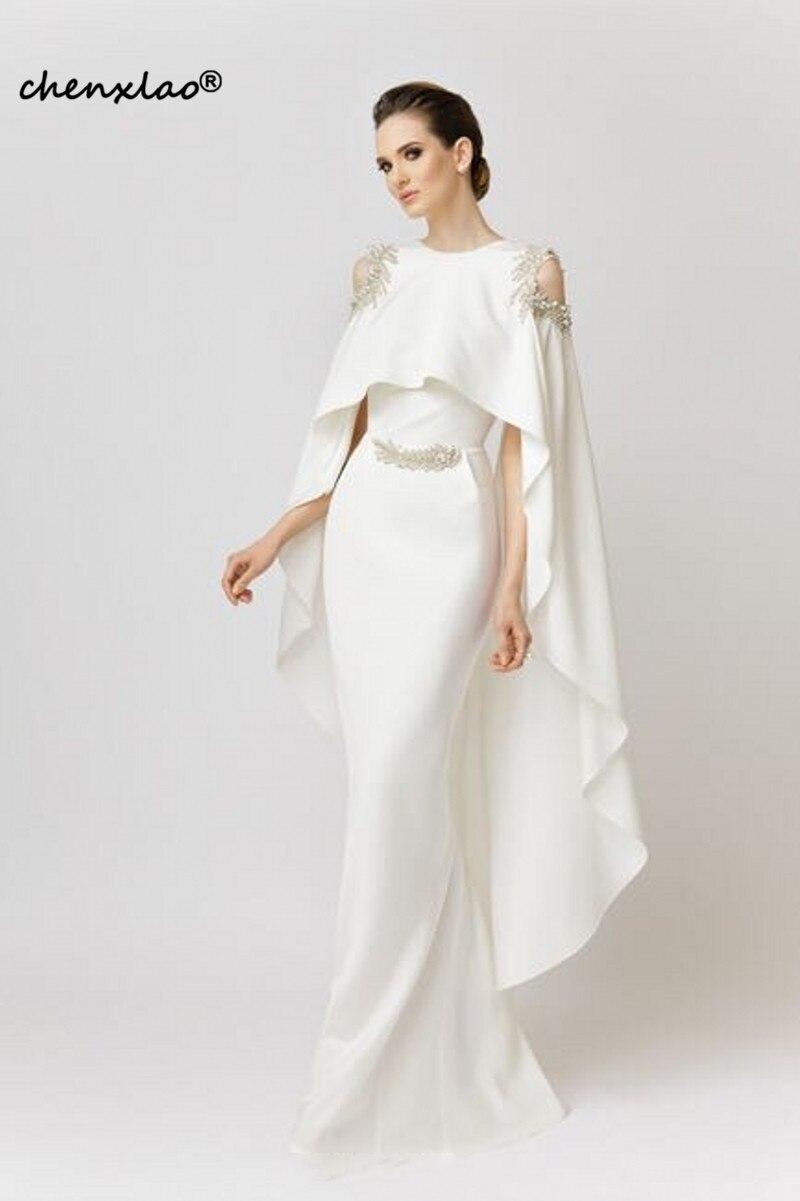 Branco com Shawl Cetim com Miçangas Vestido Longo Estilo Sereia Elegante Formal 2020 Saudita