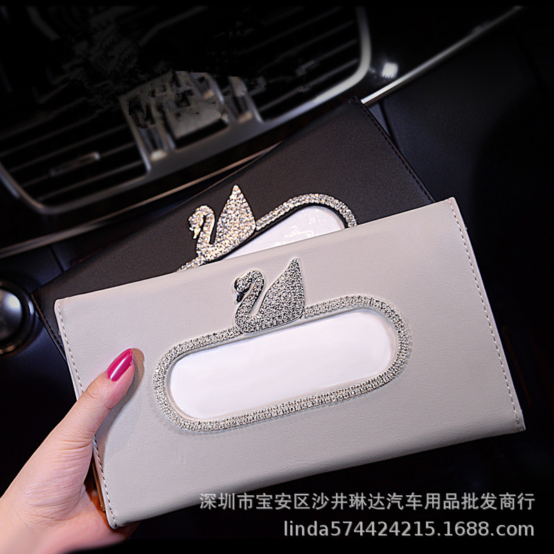 Diamond Set Swan Car College Style Tissue Box Car Mounted Paper Extraction Box Camellia Mounted Crown Tissue Box Bees