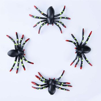 60pcs/set Halloween Scary Party Decoration Ornaments Prank Tricky Simulation Spotted Spider Haunted House Bar Scene Layout Decor halloween scary party scene spider decorative props joking birthday toys diy halloween simulation plush spider decorative