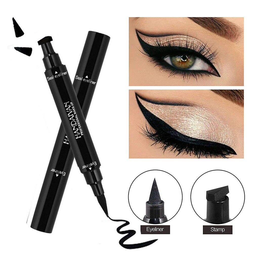 2 In1 Black Eyeliner Waterproof Korean Cosmetics makeup for women Liquid Eyeliner Pencil with Triangle Stamp women's cosmetics
