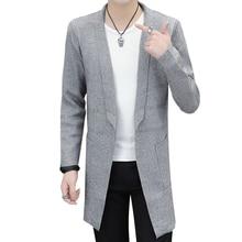 Длинный свитер куртки мужской кардиган вязаный мужской свитер осенний серый свитер модный мужской трикотаж длинный свитер мужской 8801