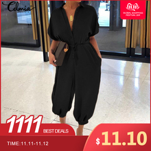 Celmia Women Vintage Jumpsuits 2019 Summer Short Sleeve Rompers Casual Loose But