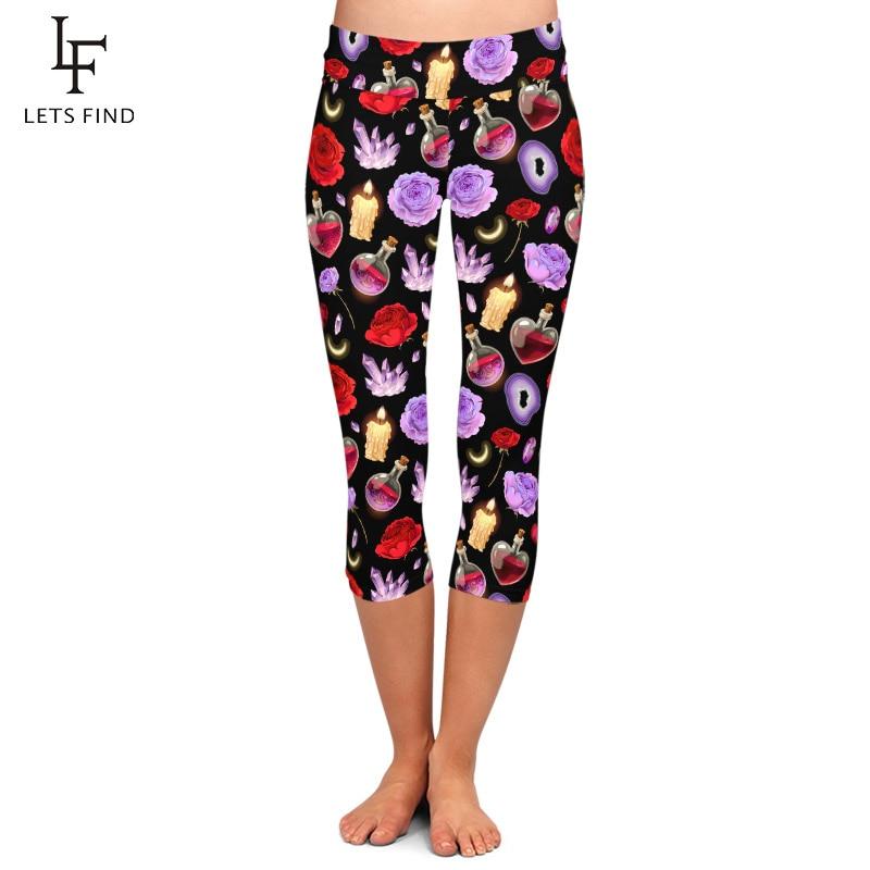 LETSFIND Summer High Waist Fitness Slim Capri Leggings Fashion Magic Glass Flask And Candle Print Women Balck Leggings