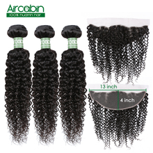 Malaysian Curly Hair Bundles With Frontal Human 13x4 Lace Closure 4 Pcs/Lot Remy