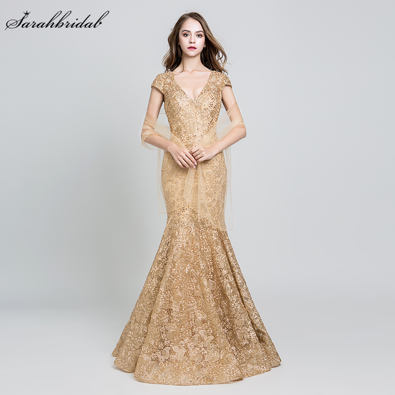Elegant Evening Dresses Long Lace Mermaid Floor Length Party Gown Beads Backless V Neck Formal Embroidery Robe De Soiree LSX547