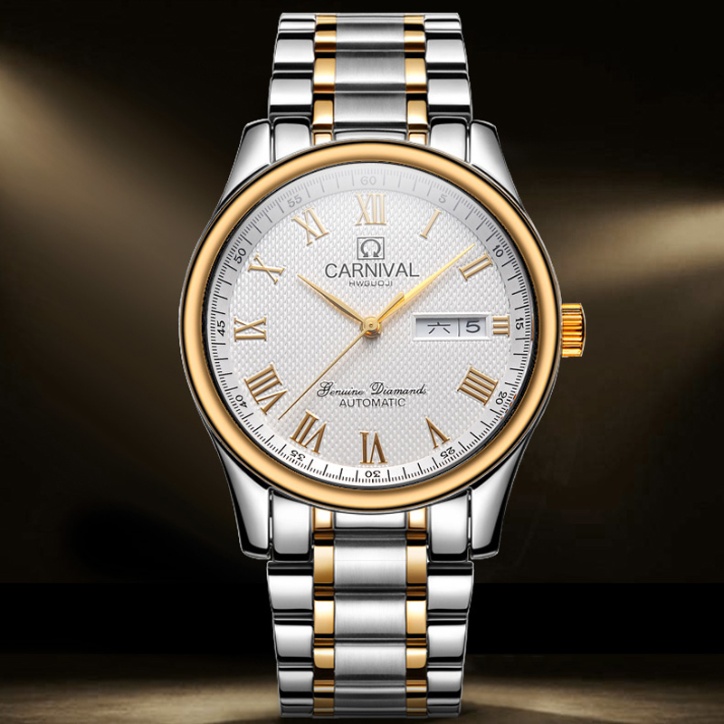 CARNIVAL Week Date Military Watch Mens Watches Top Brand Luxury Waterproof Fashion Automatic Mechanical Wrist Watch Clock Saat