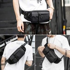 Image 3 - MOYYI su geçirmez Crossbody çanta erkekler rahat omuz çantaları spor kemer göğüs çantası fermuar çok katmanlı sırt çantaları bel paketi