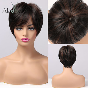 ALAN EATON Black Brown Synthetic Wigs with Highlights Short Straight Wigs for Women Natural Hair Heat Resistant Wigs with Bangs(China)