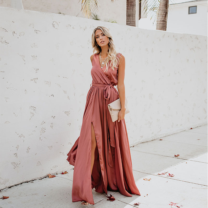 Sleeveless V Neck BoHo Prom Dresses Chiffon  Long A Line Formal Robe De Soiree 2019 Blush Pink Formal Party Gowns For Women
