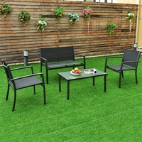 4 pcs Patio Steel Frame Coffee Table Furniture Set Sturdy Powder coated Metal Frame Outdoor Furniture