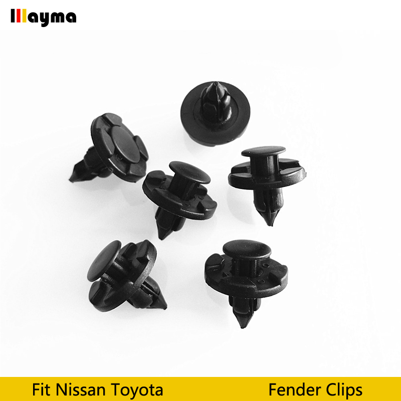 100pcs Bumper Clips 8mm Plastic Rivet Fastener Mud Flaps Fender Push for NISSAN