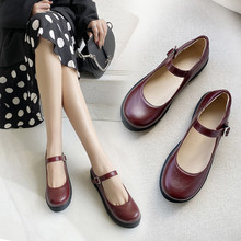Mary Jane Flats Platform Women Flat Shoes Japanese School Girls Uniform Shoes Woman Cosplay Casual Buckle Strap Ladies Shoes socofy vintage printed flat shoes women flats genuine leather retro flower platform shoes woman heel mary jane flats new fashion