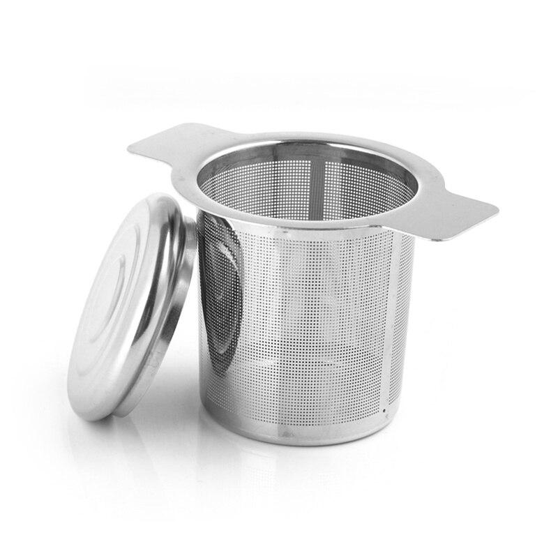 Baru Aksesoris Dapur Teh Mesh Logam Infuser Stainless Steel Cangkir Teh Saringan Teh Daun Filter dengan Cover Filter Saringan Teh