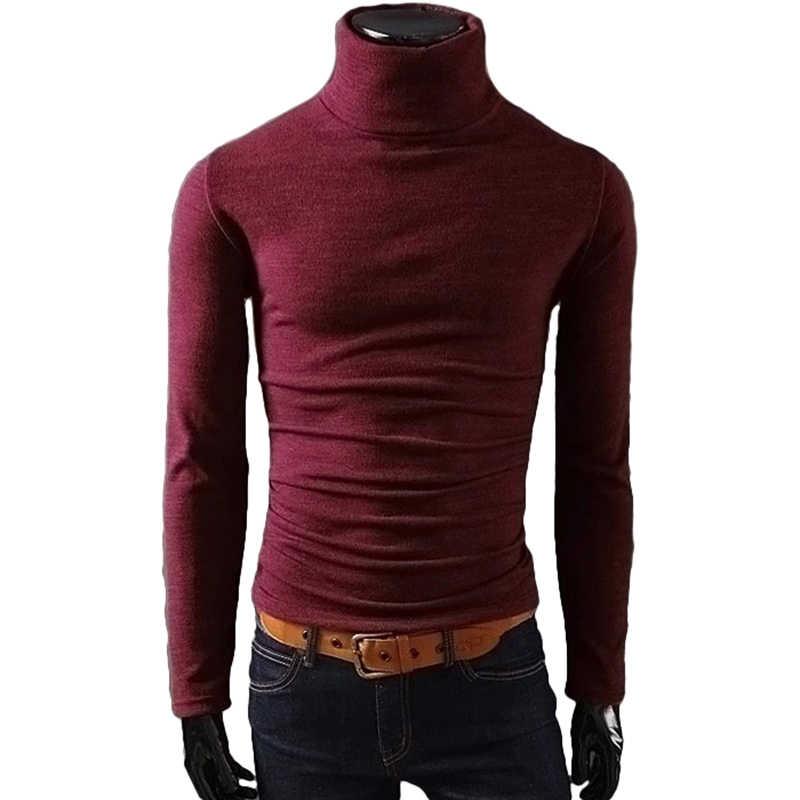 봄과 가을 새로운 남성 긴 소매 스웨터 캐주얼 높은 목 남성 긴 소매 스웨터