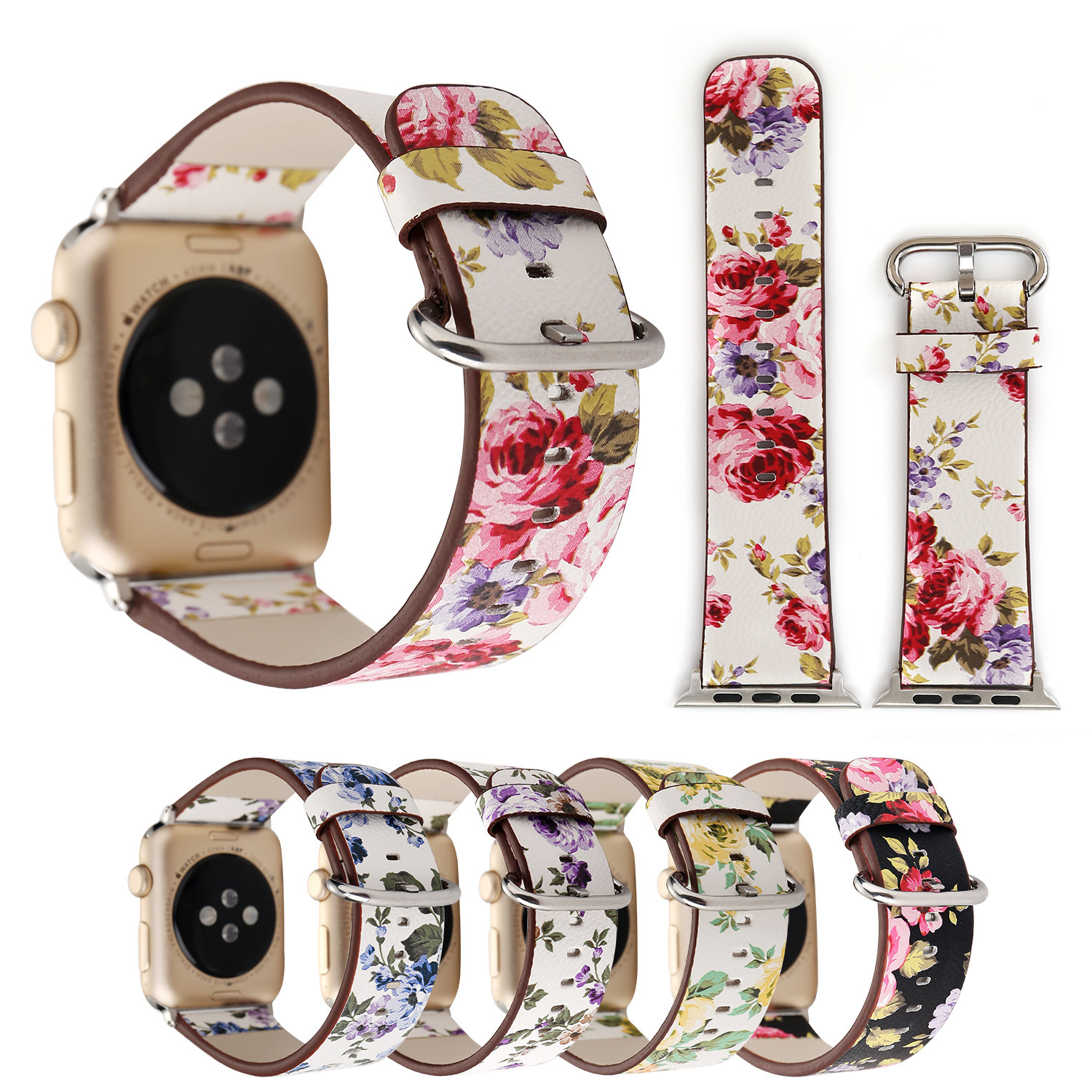 Suitable For Small Floral Apple Watch Strap APPLE Watch1234 Leather Watch Strap IWatch PU Strap