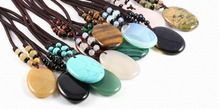 New Design 13 Colors Pendant Necklaces Long Necklace Bohemian Jewelry Natural Stone Oval Shape Gift70cm