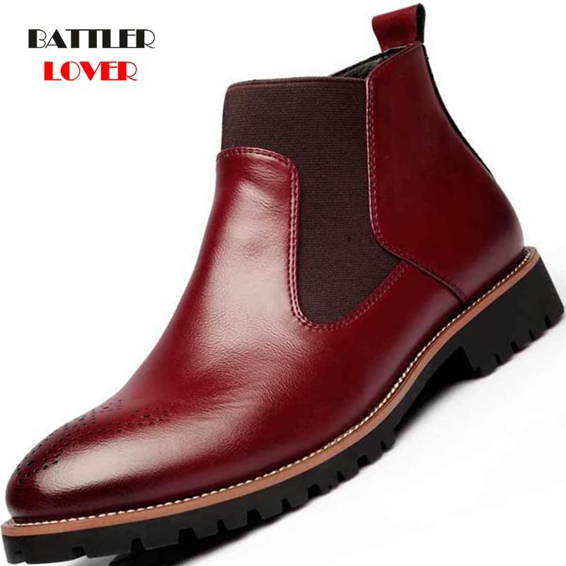 Men Chelsea Dress Boots Slip-on Waterproof Ankle Boots Men