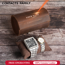 CONTACTS FAMILY 2 Slot Watch Box Handmade Watch Roll Cow Leather Travel Case Retro Wristwatch Pouch with Slide in Out Organizer