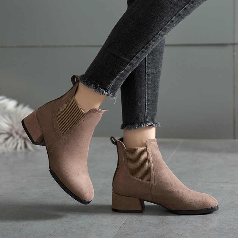 Feminino outono inverno rebanho tornozelo botas deslizamento-no dedo do pé redondo 4cm salto quadrado sólido casual preto/camelo booties tamanho 35-43