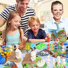 Kreatywny 56-sztuka DIY malowane zwierzę dinozaur malowanie Graffiti lalka Model kopalnych mata do zabawy zestaw Kid dla rodziców i dzieci zabawki interaktywne tanie tanio CN (pochodzenie) Drewna none Unisex 3 lat Farby nauka notebook kolorowania notebook