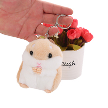 Simulation Mini Hamster Plush Toy Keychain Pendant Tote Fluffy Trinket Car Keyring Ring 10cm WJ224