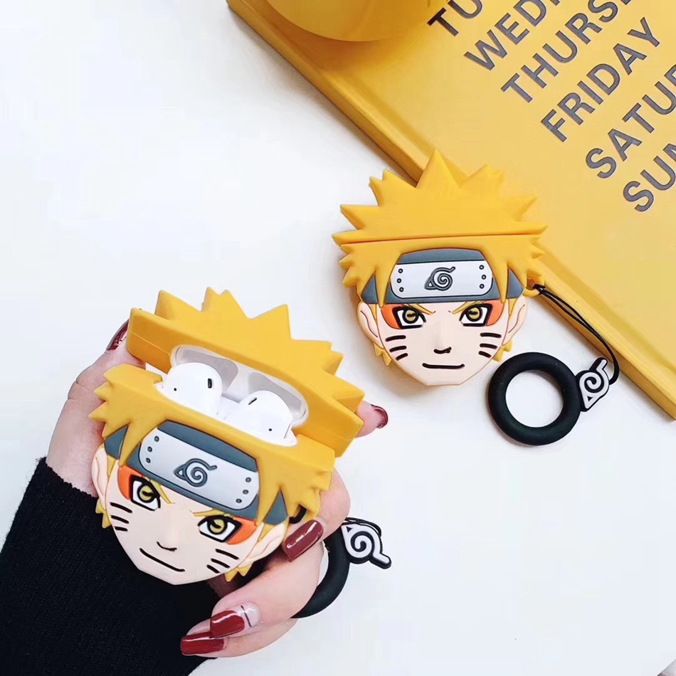 3D Cute Cartoon Anime Cover For Airpods 2 Case Silicone Earphone Case For Apple Air Pods Case For Earpods Funda With Keychain